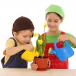 Little children watering for potted narcissus — Stock Photo #4940903