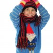 Smiling little girl with winter clothes — Stock Photo