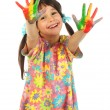 Little girl with painted hands — Stock Photo