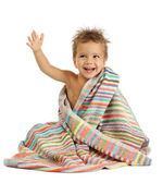 Smiling little boy in towel — Stock Photo