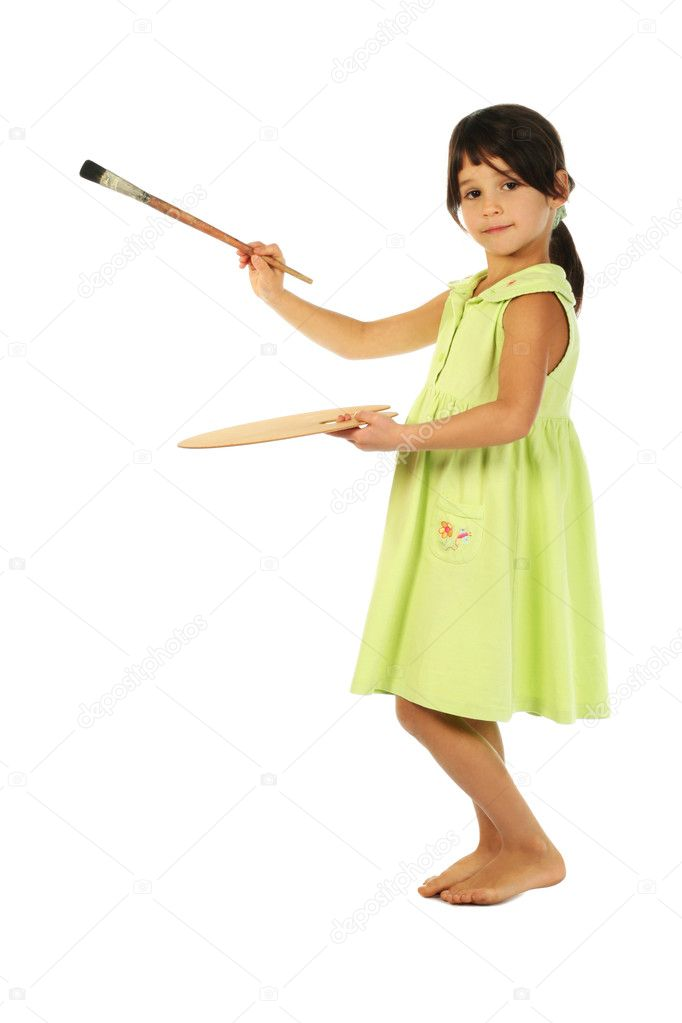 Little girl with a paintbrush — Stock Photo #4940955