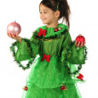 Stock Photo: Little girl in green Christmas tree costume with Christmas decoration