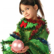 Little smiling girl in green Christmas tree costume — Stock Photo