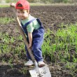 Little boy on field with big shovel — Stock Photo