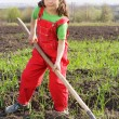 Stock Photo: Little girl on field with hoe tool
