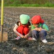 Little children with shovel on field looking to ground - Stock Photo
