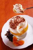 Multilayer gelatin dessert on the spoon — Stock Photo