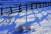 Old wooden fence- winter — 图库照片
