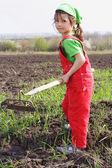 Petite fille sur le champ avec l'outil hachoir — Photo