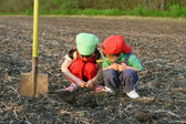 Little children with shovel on field looking to ground — Stock Photo