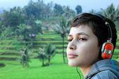 Boy with headphone — Stock Photo