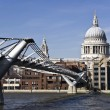 St Paul`s Cathedral and Millennium bridge — Stock Photo #4905924