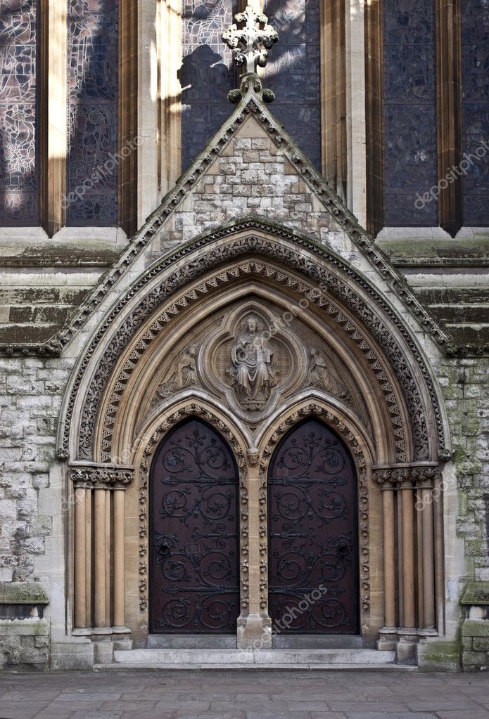 Entrance to Catholic church. St Mary Abbots  Stock Photo #5016863