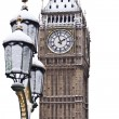 Snow and Big Ben before Christmas in London — Stock Photo