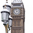 Snow and Big Ben before Christmas in London - Stock Photo