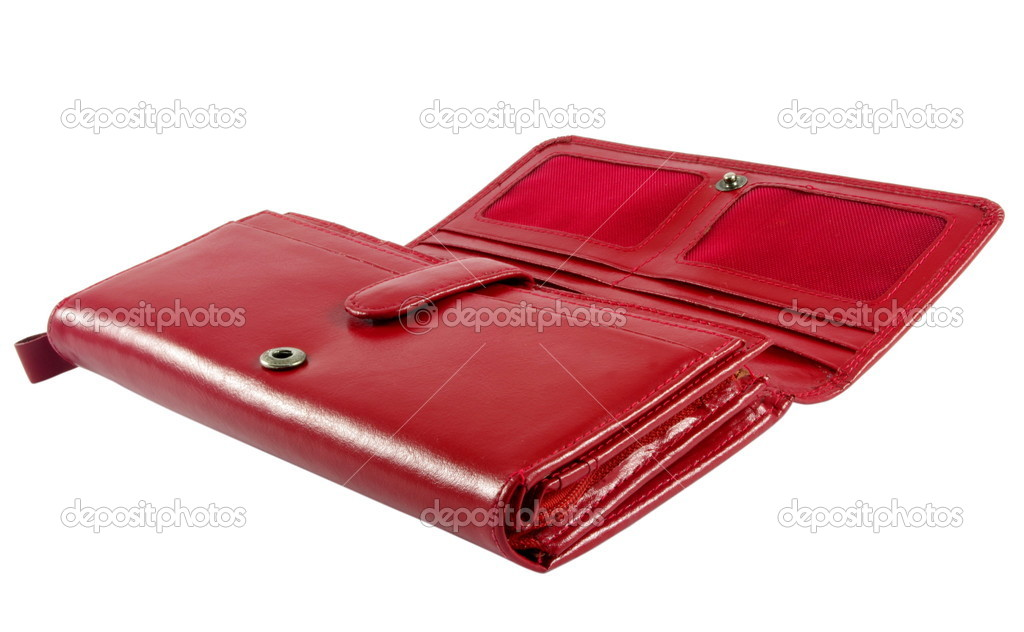 Red female leather wallet over white surface — Stock Photo #5190069