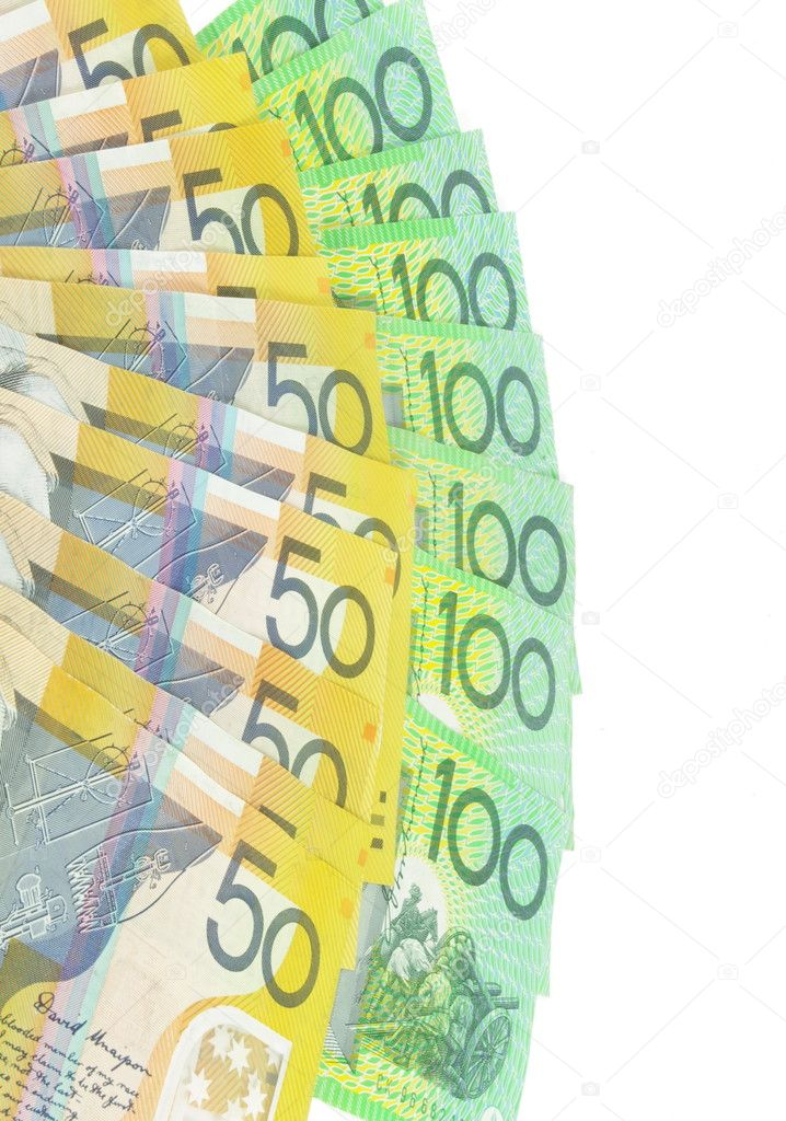Australian  money banknotes on white surface — Stock Photo #5345875