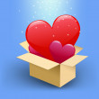 Stock Vector: Hearts in box