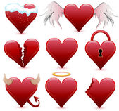 Collection of different hearts — Stock Vector