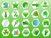 Set green icons — Stock Vector