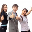 Successful business team with thumbs up - isolated over a white background — Foto de Stock