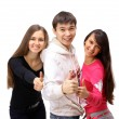 Foto Stock: Group of with thumbs up isolated