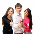 Foto de Stock  : Group of with thumbs up isolated