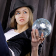 Fancy with mirror ball on black — Stock Photo