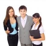 Three businessmen in the office: teamwork — Stockfoto