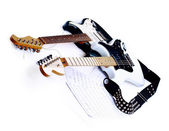 Electric guitars isolated on white background with Clipping Path. — Stock Photo
