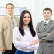 Command(team) of the business at light office — Stock Photo