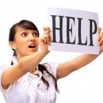 美しいビジネス女性の助けを求める — ストック写真