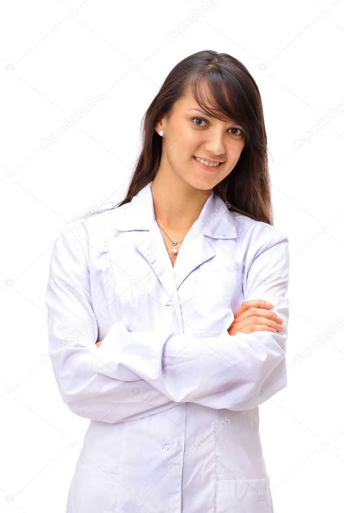 The woman the doctor on a white background — Stock Photo #5296419
