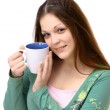 The young girl with a cup on a white background — Stock Photo #5311852