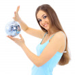The girl with a mirror sphere on a white background — Stock Photo