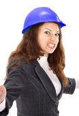 La mujer de negocios malicioso el ingeniero sobre un fondo blanco — Foto de Stock