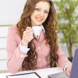 The beautiful business woman at office — Stock Photo