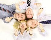 Business group meeting portrait - business working together. A diver — Stock Photo