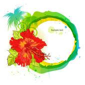 Latem tło. hibiskus i palmy — Wektor stockowy