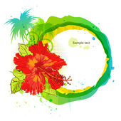 Summer time background. Hibiscus and palm — Vecteur