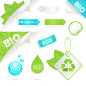 Ecology labels and bio icons — Stock Vector