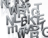 Alphabet grey letters — Stock Photo