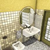 Salle de bain jaune — Photo