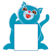 Blue little cat and sign — Stock Photo