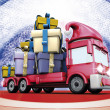 Gift christmas truck — Stock Photo