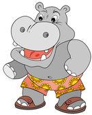 Happy Hippo — Stock Vector