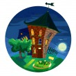 Small houses, light from the window, moonlight night. vector — Stock Vector