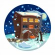 Cute little house, winter night — Stock Vector