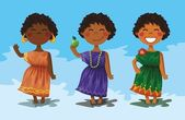 3 cartoon characters - cute African girls. — Stock Vector