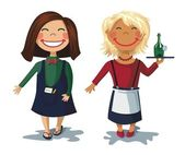 Cartoon characters - two cute girls waitress — Stock Vector